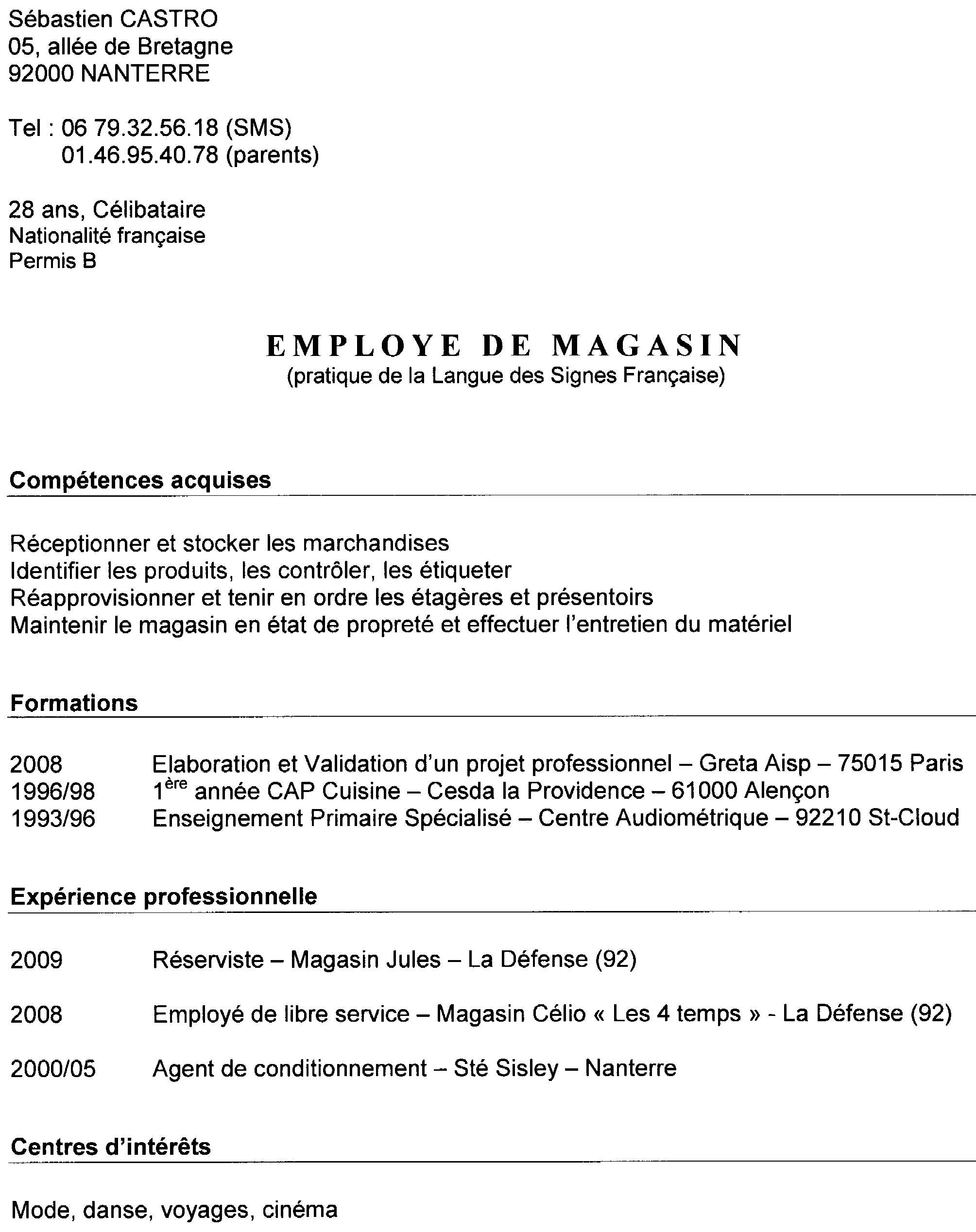 employ u00e9 de magasin